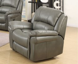 Weydon Grey Leather Look Manual Recliner