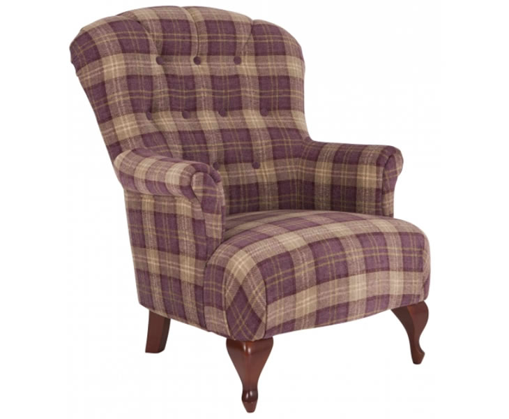 Oban Aubergine Tartan Fireside Armchair Uk Delivery