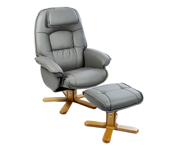 Avanti Grey Bonded Leather Swivel Recliner Chair - UK delivery