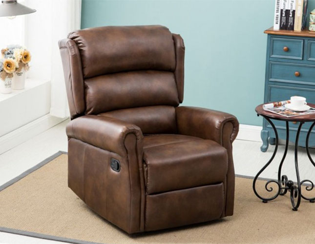 justarmchairs.co.uk Yonkers Bronze Brown Faux Leather Recliner Chair