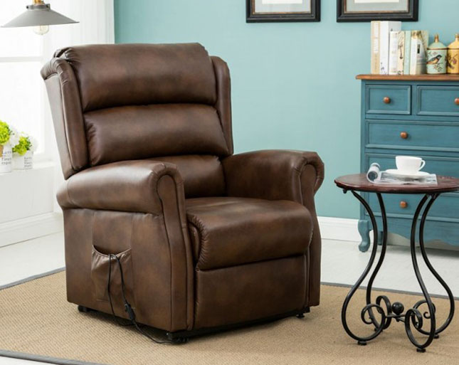 justarmchairs.co.uk Yonkers Bronze Brown Faux Leather Rise and Recline Chair