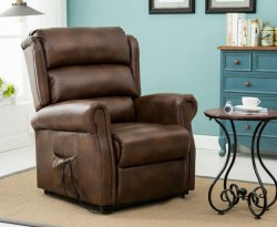 Yonkers Bronze Brown Faux Leather Rise and Recline Chair
