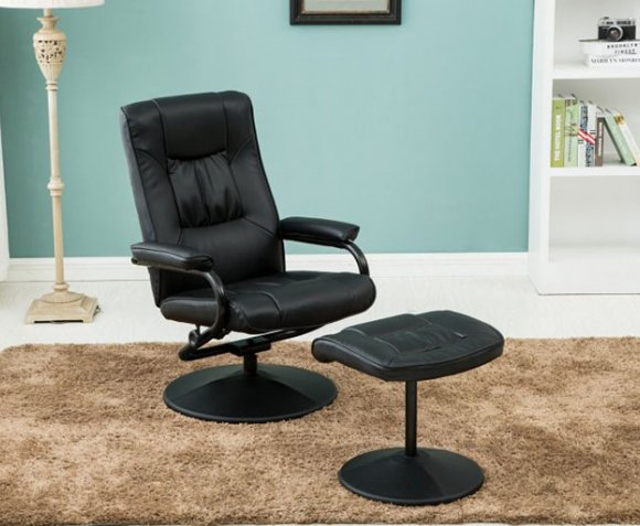 justarmchairs.co.uk Nashville Black Faux Leather Swivel Chair and Foot Stool