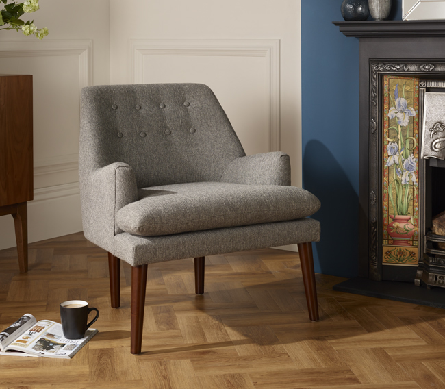 justarmchairs.co.uk Wallace Grey Fabric Occasional Armchair