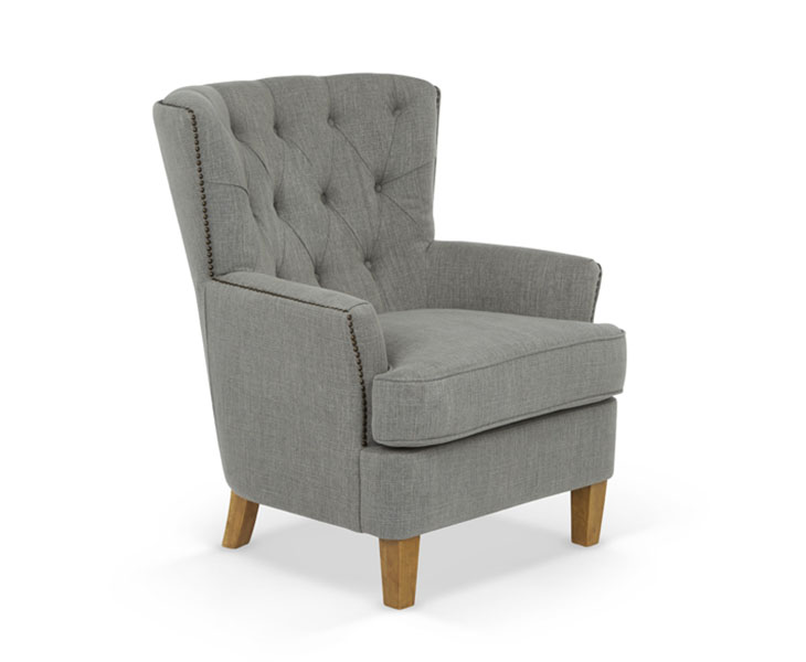 Information; Delivery U0026 Assembly. Selkirk Grey Upholstered Occasional  Armchair