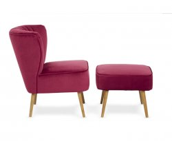 Prestwick Ruby Fabric Occasional Armchair with Footstool