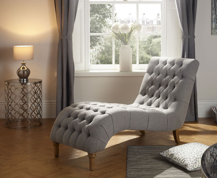 justarmchairs.co.uk Inverness Grey Fabric Chaise Longue