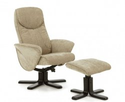 EX-Display Olsen Mink Fabric Massage Recliner Chair and Stool *Special Offer*
