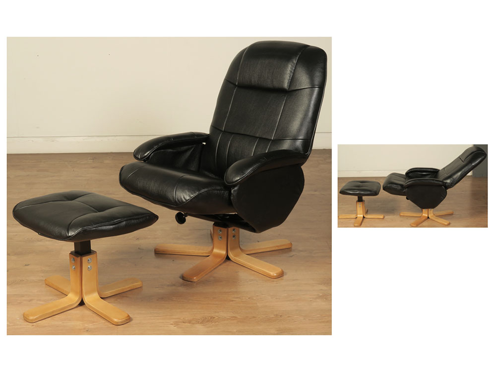 black faux leather swivel chair and footstool swivel chair and stool