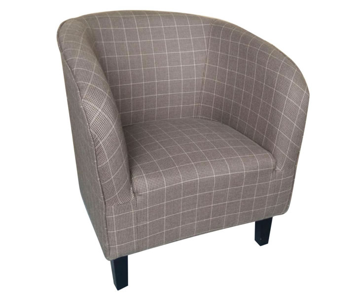 justarmchairs.co.uk Hilda Peat Scottish Plaid Upholstered Tub Chair *Special Offer*