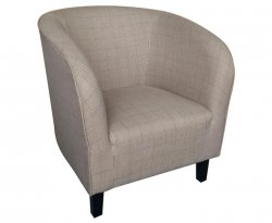 Hilda Sand Scottish Plaid Upholstered Tub Chair *Special Offer*