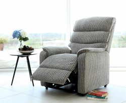 Alicante Latte Fabric Rise and Recline Chair