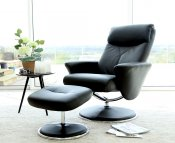 Alizza Faux Leather Swivel Chair and Footstool