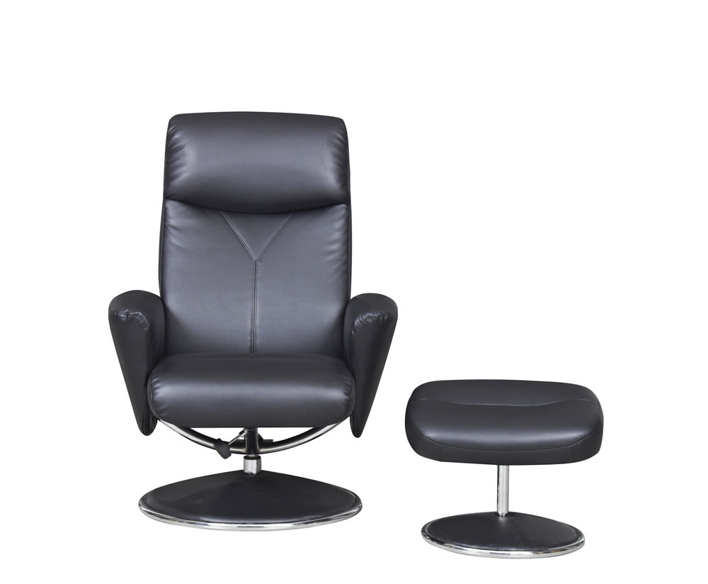 Alizza Faux Leather Swivel Chair And Footstool Just