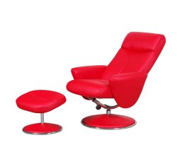 Alizza Red Faux Leather Swivel Chair and Footstool