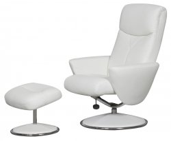 Alizza White Faux Leather Swivel Chair and Footstool