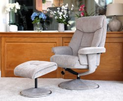 Biarritz Mist Fabric Swivel Chair and Foot Stool