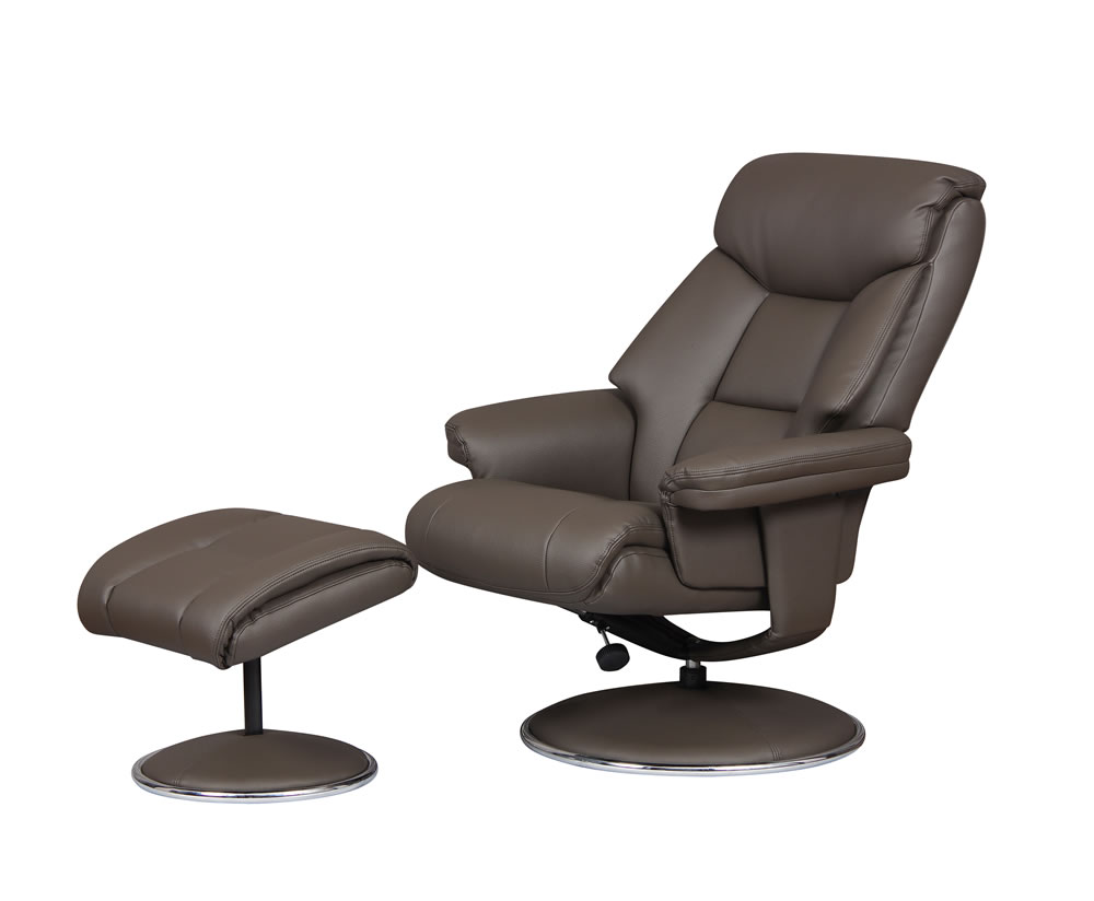 justarmchairs.co.uk Biarritz Charcoal Faux Leather Swivel Chair and Foot Stool