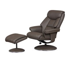 Biarritz Charcoal Faux Leather Swivel Chair and Foot Stool