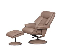 Biarritz Earth Faux Leather Swivel Chair and Foot Stool