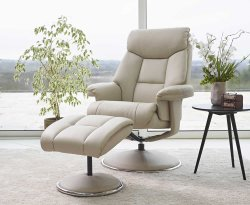 Biarritz Bone Faux Leather Swivel Chair and Foot Stool