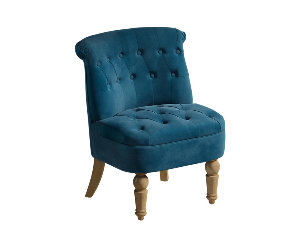 justarmchairs.co.uk Georgia Upholstered Bedroom Chair velvet sapphire