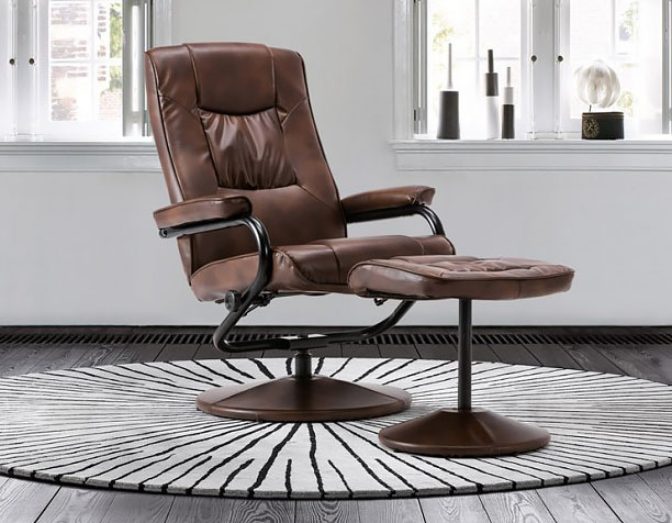 justarmchairs.co.uk Nashville Tan Faux Leather Swivel Chair and Foot Stool