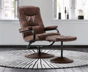 Nashville Faux Leather Swivel Chair and Foot Stool