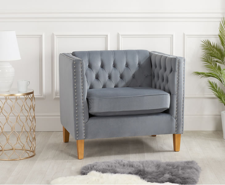 Florence Grey Velvet Upholstered Snuggle Arm Chair - Just ...