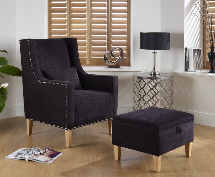justarmchairs.co.uk Leven Upholstered Occasional Chair and Stool aubergine