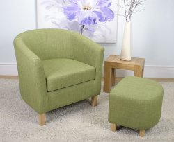 Falkirk Lime Linen Fabric Tub Chair and Stool *Special Offer*
