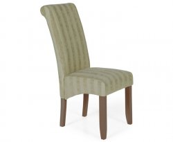 Durham Stripe Fabric and Walnut Dining Chair