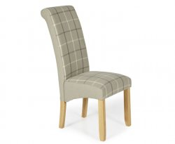 Durham Tartan Fabric and Oak Dining Chair