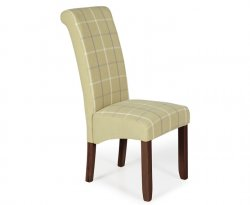 Durham Tartan Fabric and Walnut Dining Chair
