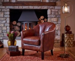 Park Lane Chestnut Brown Leather Tub Chair