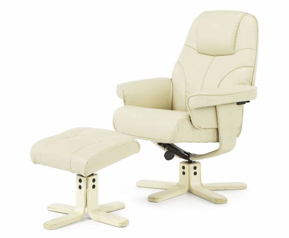 Armchairs Rosenberg Cream Faux Leather Recliner Chair and Stool *Special Offer*
