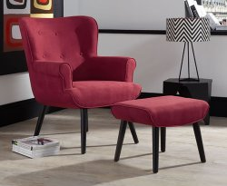Laurel Upholstered Accent Chair and Stool