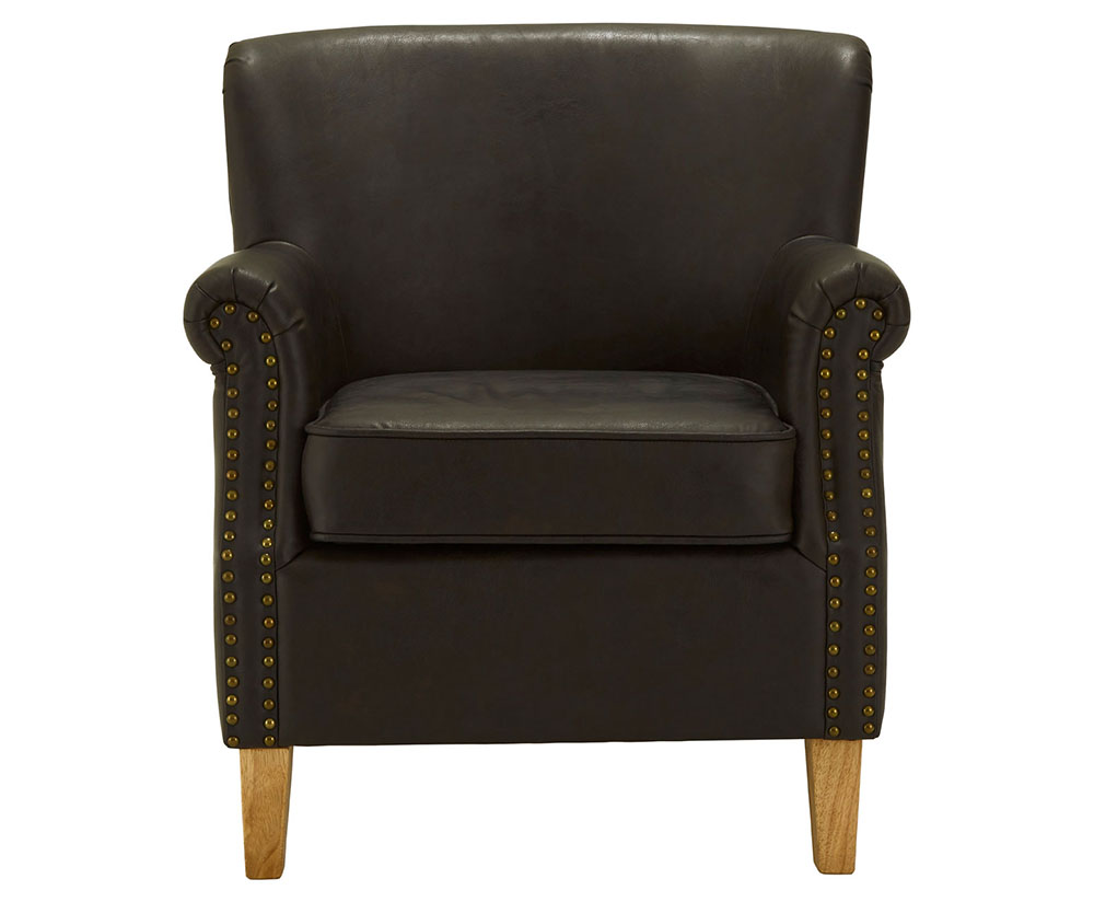 Gary Brown Faux Leather Armchair - Just Armchairs