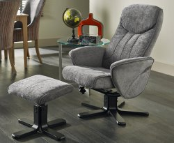 Olsen Fabric Recliner Chair and Stool