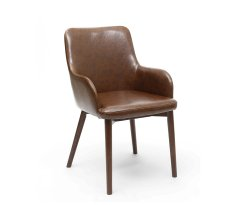 Eastwood Vintage Brown Leather Dining Chairs - Set of 2