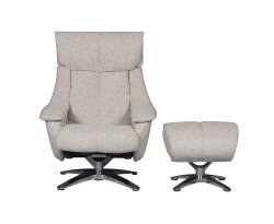 Pirouette Salt & Pepper Fabric Swivel Chair and Stool