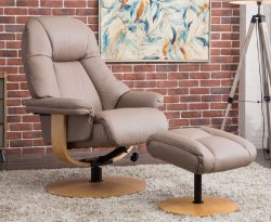 Jeremy Leather Swivel Recliner Chair & Stool