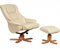 Seoul Leather Swivel Recliner Chair & Stool