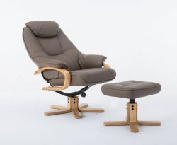 Rowland Upholstered Swivel Recliner Chair & Stool