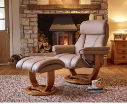 Cray Upholstered Leather Swivel Recliner Chair & Stool