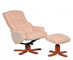 Sampson Fabric Swivel Recliner Chair & Stool