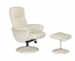 Sandra Faux Leather Swivel Recliner Chair & Stool