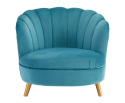 Hacca Blue Velvet Accent Chair
