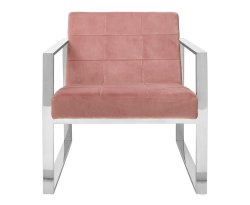 Hurlin Pink Velvet Cocktail Accent Chair