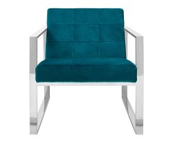 Hurlin Teal Velvet Accent Cocktail Chair